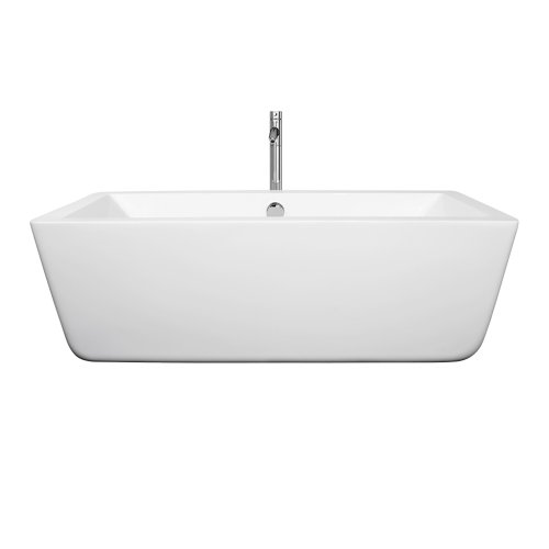 picture of Laura 59 inch Center Drain Soaking Tub in White with Floor Mounted Faucet in Chrome