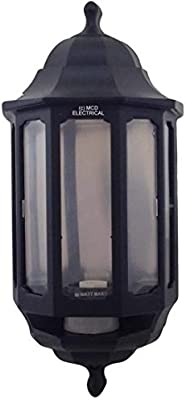 Black FIN866 4 x ASD HL//BK060P Half Lantern Wall Lights with PIR Sensor
