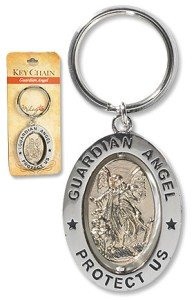 Travel Prayer Keychain - Guardian Angel 3 1/4