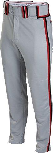Rawlingsスポーツ用品Boys Youth semi-relaxed Pant with Braid B00J12DHB2 Large Grey/Scarlet/Black Grey/Scarlet/Black Large