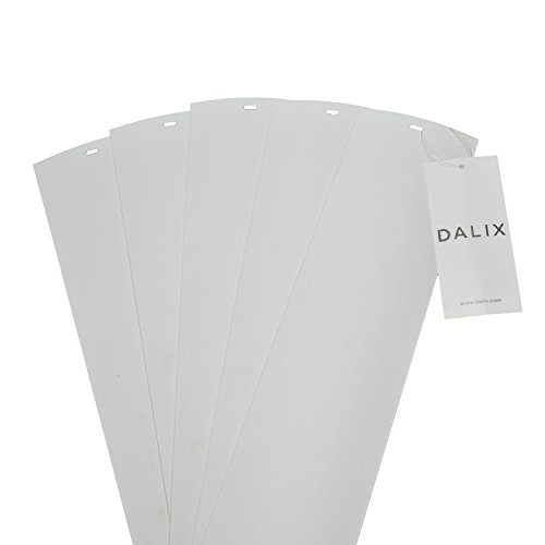 DALIX PVC Vertical Blind Replacement Slats Curved Smooth White 94.5 x 3.5 (5-Pack) (Best Quality Vertical Blinds)