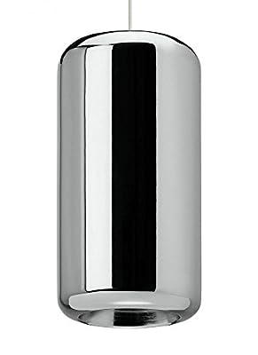 """Tech Lighting 700TDIRDPMCW-LED830 Iridium - 11.5"""" 8W 1 LED Line-Voltage Pendant, White Finish with Metallic Chrome Shade"""