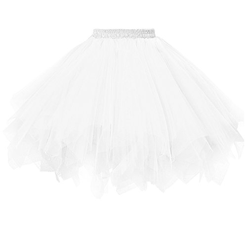 Dressever Vintage 1950s Short Tulle Petticoat Ballet Bubble Tutu White Small/Medium