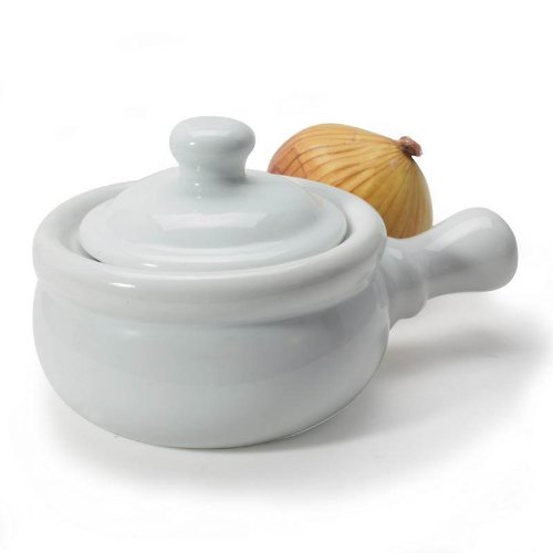White Porcelain Onion Soup Bowl with Lid - 10.5 Ounce