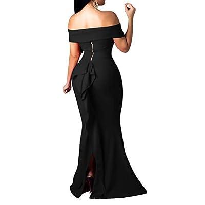 LAGSHIAN Women Elegant Back Ruffles Sexy Off Shoulder Gown Maxi Evening Party Mermaid Dress: Clothing