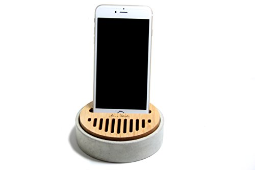 Concrete Cell Phone Stand Maple Wood Speaker Sound Amplifier desk stand for iphone android phone