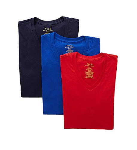Polo Ralph Lauren Classic Fit 100% Cotton V-Neck T-Shirts - 3 Pack (RCVNS3) L/Cruise Royal/Red/Navy