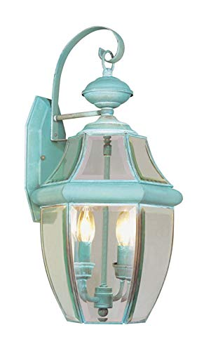 Livex Lighting 2251-06 Outdoor Wall Lantern with Clear Beveled Glass Shades, Verdigris