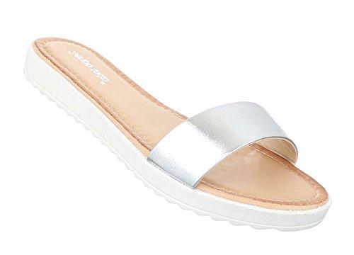 Damen Sandalen Schuhe Strandschuhe Sommerschuhe Pantoletten Silber