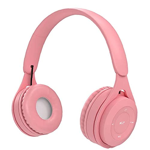 Wireless Headset Over Ear Earbud Colorful Stereo Headphone Fashionable Lightweight Headset for Sports Pink