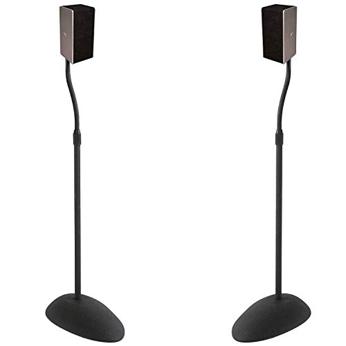 ECHOGEAR Adjustable Height Speaker Stands - Universal Compatibility with Satellite Speakers from Vizio, Klipsch, Bose, Sony & More - Solid Steel Design with Built-in Cable Management & Carpet Spikes