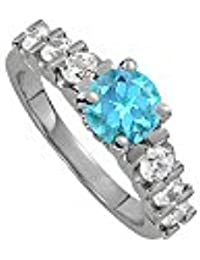 December Birthstone Blue Topaz and CZ Ring 1.50 TGW