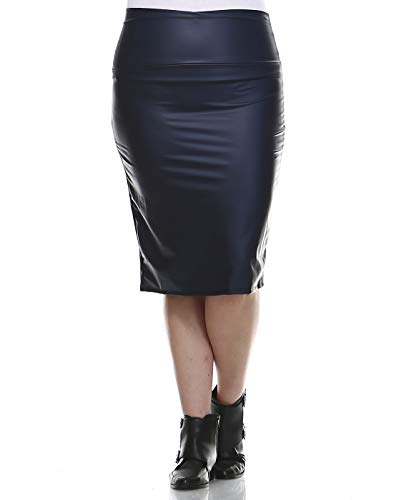 A-line Back Skirt Zip (Bold And Beautiful Women's Knee Length Pencil Skirt – High Waisted Midi – Office Wear – Plus and Regular Size – Made in USA (1X, Navy Faux Leather))