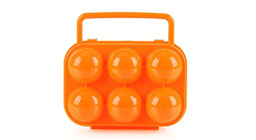 FantasyDay Shockproof Egg Carrier With Locks Portable 6 Eggs Holder Outdoor Egg Storage Box Case for Picnic, Camping and Hiking -
