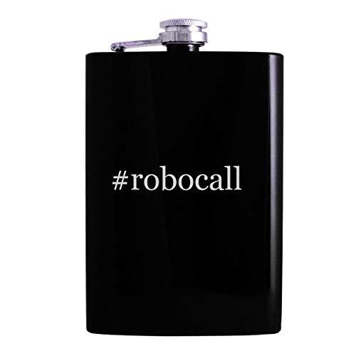 #robocall - 8oz Hashtag Hip Alcohol Drinking Flask, Black (Best Robocall Blocker App)