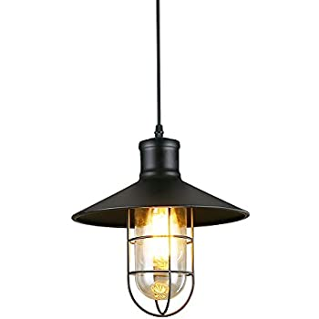 Ivalue Industrial Pendant Light Vintage Metal Black Barn Cage
