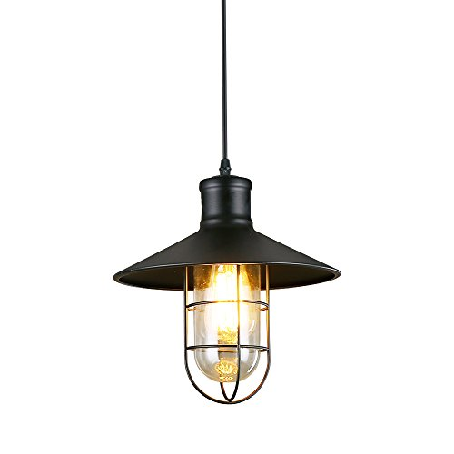 LNC A01910 Cage Indoor Light Hanging Lamp Use E26 Bulb Ceiling Pendant Fixtures, Black by LNC
