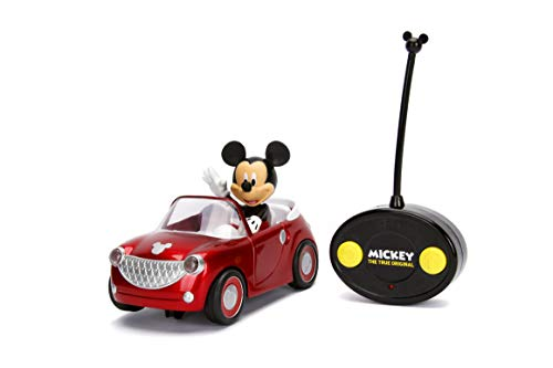 Jada Toys Disney The True Original Mickey Mouse Roadster Car RC/Radio Control Toy Vehicle, Red]()