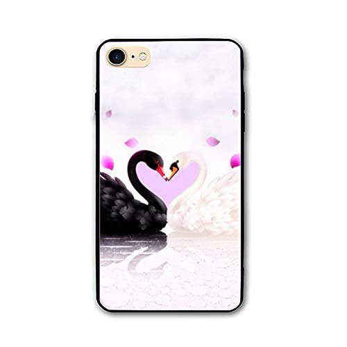 iPhone 7/8 Case,Personalized Artistic Black Love Swan White Floral Print PC Cellphone case (Bella Swan Jacket)