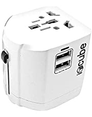 iBlockCube® Worldwide Travel Plug Adapter with 2 USB 2.4A Charging Ports, International Universal AC Socket, Dual Safety Fuse, Chip Protector for US UK EU AU Mobile Phone Tablet Laptop Gadget - White
