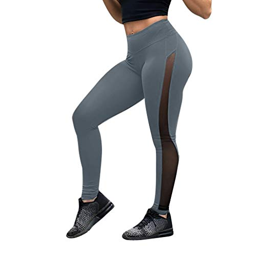 (WUAI-Women High Waist Yoga Pants Mesh Fitness Tummy Control Leggings Capris(Grey,Medium)
