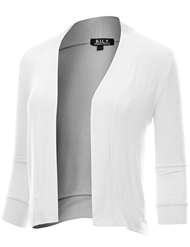 BH B.I.L.Y USA Women's Classic Open Front Cropped 3/4 Sleeve Cardigan White XXX-Large