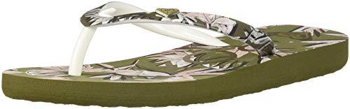 Roxy Women's Portofino Flip Flop Sandals, Olive, 1 (Portofino Shoes)