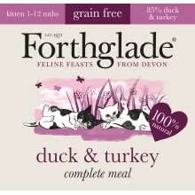 FORTHGLADE Forthglade Natural LifeStage Grain Free Kitten Pato y 90g paquete de Turquía, de 12