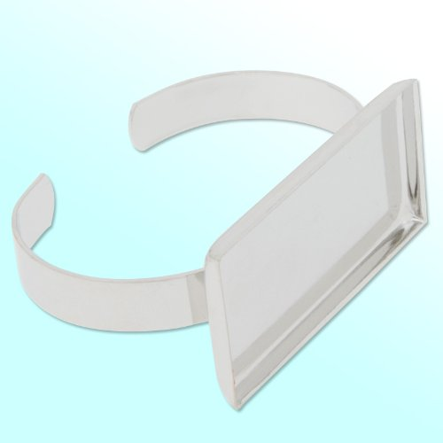 2550mm Rectangle Bezel Settings- Imitation Rhodium Plated Bracelet Blanks-5pcs