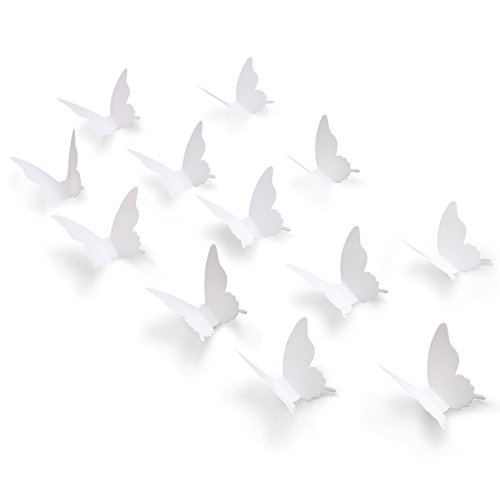 Luxbon 100Pcs 3D Paper White Matt Effect Butterfly Wall Stickers Removable Art Crafts Butterflies Decals Mural for Home Room Nursery Girls Bedroom DIY Wall Decorations