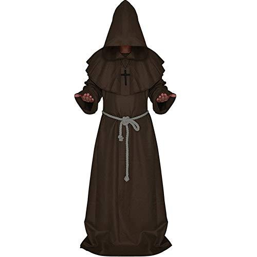 Adult's Halloween Cape Costume, Deluxe Velvet Monk Robe with Hood, Halloween Robe for Men and Women, Full Length, Brown XXLarge -