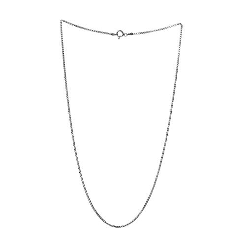 MIA SARINE Rhodium Plated Sterling Silver 18 Inch Rounded Box Chain Necklace for Women (18 Inches) ()