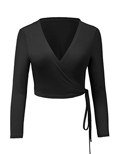 Luvamia Womens Long Sleeve V Neck Surplice Self Tie True Wrap Slim Fit Basic Solid Black Casual Crop Top Size S   Us 4 6