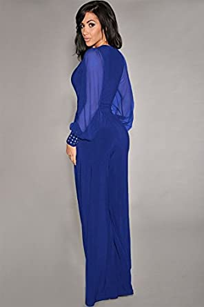 shelovesclothing Womens Mesh Plunge Long Sleeve Embellished Jumpsuit