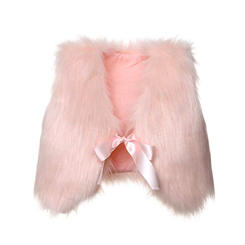 XBRECO Toddler Girl Faux Fur Vest Coat Winter Warm Waistcoat Outerwear (4-5 Years, Pink)