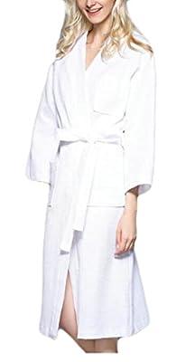 BYWX-Women Terry Hooded Bathrobe Long Sleeve 100% Turkish Cotton