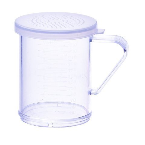 Winco PDG-10CS, 10 Oz Plastic Dredge with Clear Snap-on Lid, Seasoning Sugar Spice Pepper Shaker with Small Holes