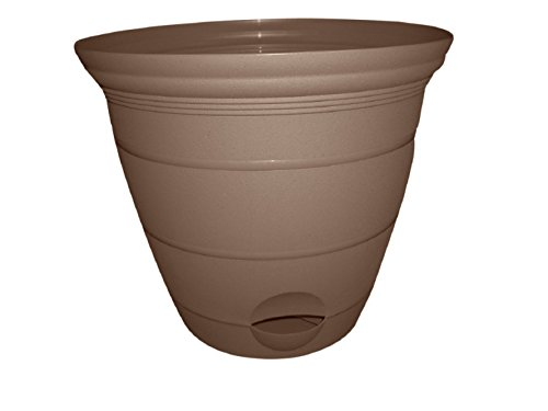 Misco Terra Collection Round Tapered Flared Self-Watering Planter with Ventilated Base, 15-Inch Diameter, Sandalwood
