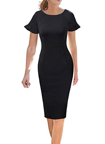 (VFSHOW Elegant Ruffle Flutter Sleeve Work Business Office Sheath Dress 503 BLK S)
