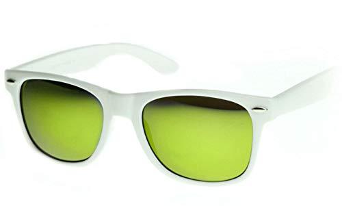 WebDeals Retro - Sunglasses Classic 80's Vintage Style Design Polarized or Standard Lens (White, Yellow Revo)…