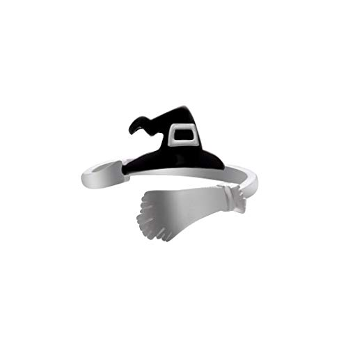 Dolland Women's Creative Band Ring Cool Halloween Party Jewelry Open Adjustable Finger Ring,Black Witch Hat Broom ()