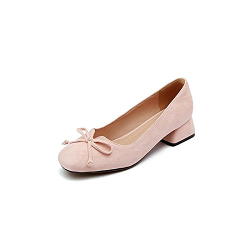 Zapatos de por Zapatos seguida Primavera Pajarita Otoño Puerto Bruto Cuadrada Pink Cabeza Satén Número Durante el Diamantes de Tacón y la de luz un Gran en de TwTO4xq