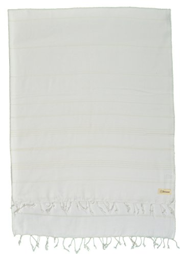 Bersuse 100% Cotton - Anatolia XL Throw Blanket Turkish Towel Pestemal - Bath Beach Fouta Peshtemal - Multipurpose Bed or Couch Throw, Table Cover or Picnic Mat - Striped - 61X82 Inches, White ()