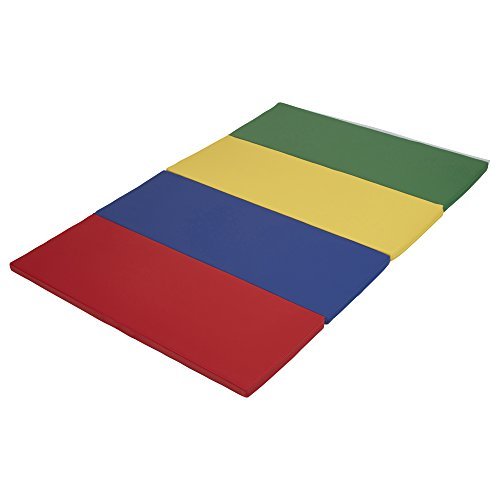 ECR4Kids SoftZone 4-Section Folding Panel Kids Tumbling Exercise Mat, 4 x 6 Feet, 1.5 Inches Thick, Assorted