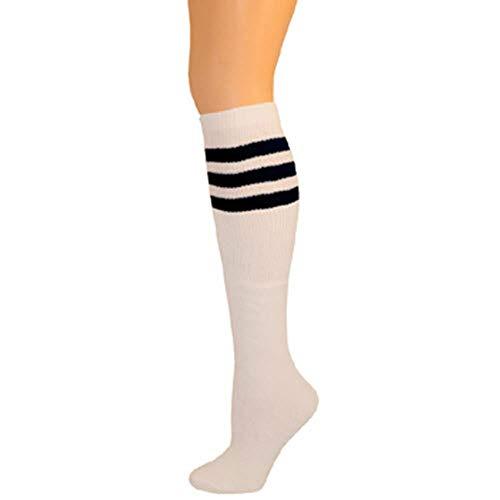 AJs Retro Knee High Tube Socks - White, Black