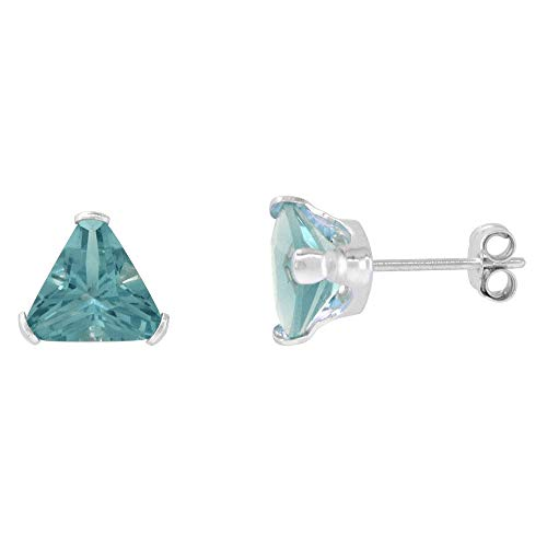 Sterling Silver Cubic Zirconia Triangle Blue Topaz Earrings Studs 7 mm 2 1/4 carat/pair