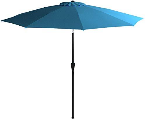 Blissun 9' Outdoor Market Patio Umbrella with Auto Tilt and Crank, 8 Ribs (Light Blue)
