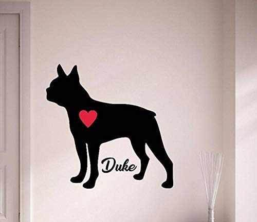 Wall Sticker Custom Name Boston Terrier Decal Personalize with Your Dog's Name Wall Stickers Pet Dog with Red Heart Art Mural