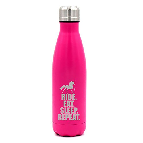 17 oz. Double Wall Vacuum Insulated Stainless Steel Water Bottle Travel Mug Cup Horse Ride Eat Sleep Repeat (Pink)
