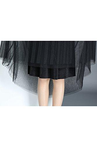 Taille MisShow Vintage Jupe anne Grande Tulle Rockabilly Femme Pliss Swing Gris 50 Asymetrique en wHw7CnqxSU